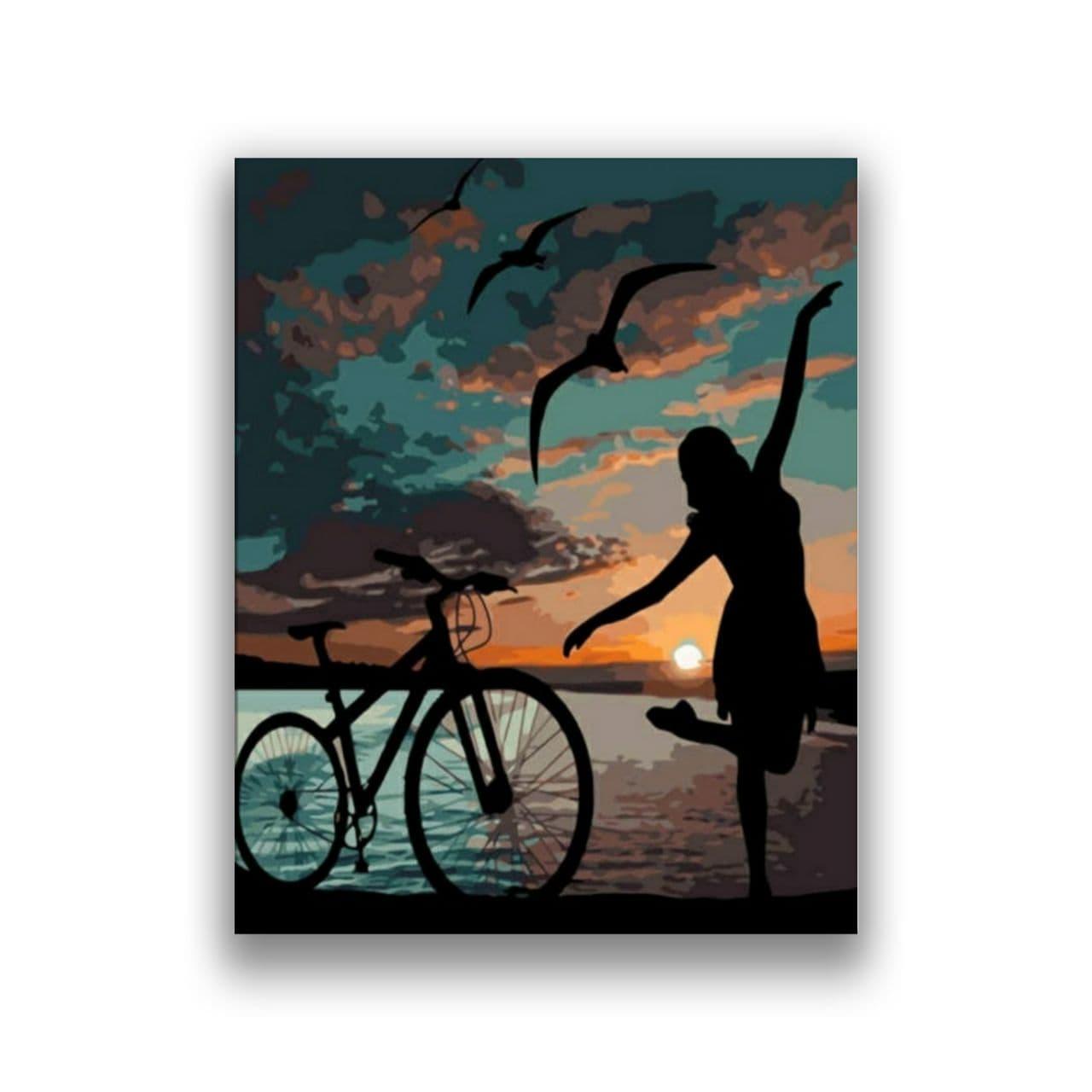 bike woman sunset